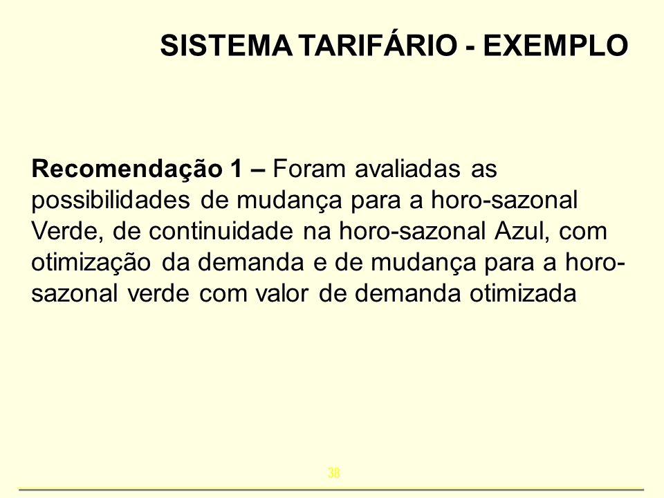 38 SISTEMA TARIFÁRIO - EXEMPLO Recomendação 1 – Foram avaliadas as possibilidades de mudança para a horo-sazonal Verde, de continuidade na horo-sazona
