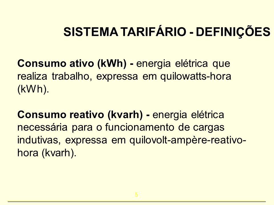 5 SISTEMA TARIFÁRIO - DEFINIÇÕES Consumo ativo (kWh) - Consumo ativo (kWh) - energia elétrica que realiza trabalho, expressa em quilowatts-hora (kWh).