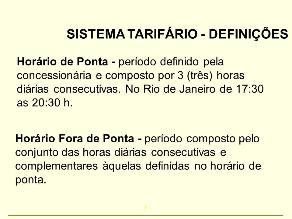 7 SISTEMA TARIFÁRIO - DEFINIÇÕES Horário de Ponta - Horário de Ponta - período definido pela concessionária e composto por 3 (três) horas diárias cons
