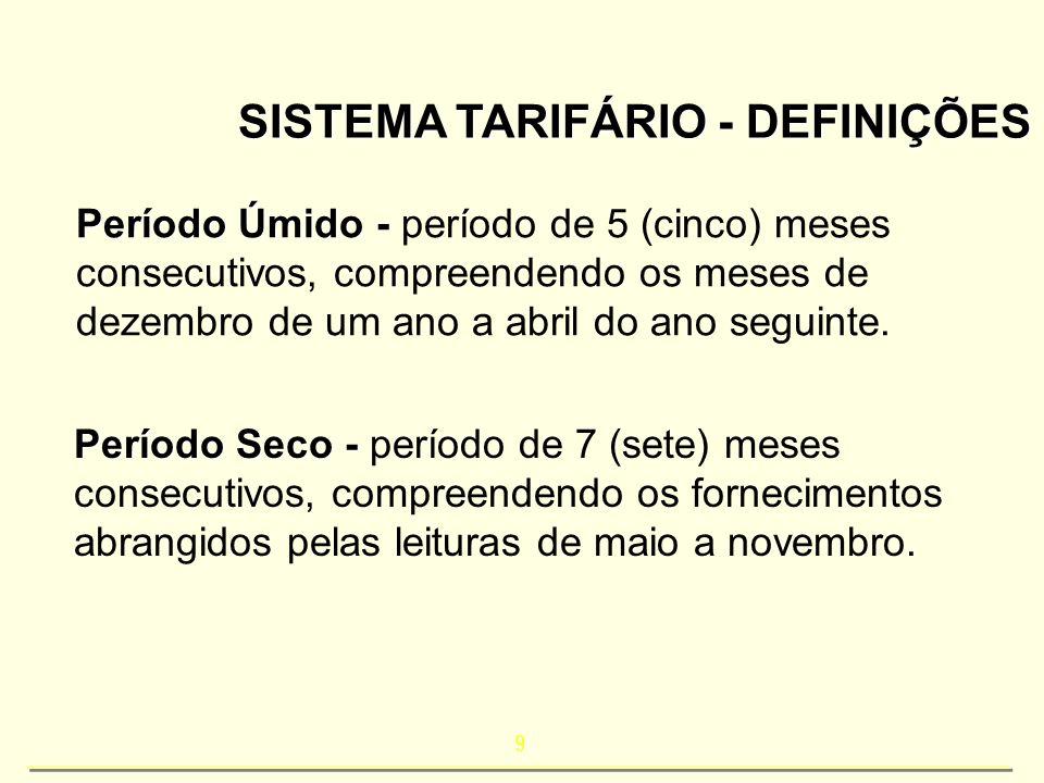 9 SISTEMA TARIFÁRIO - DEFINIÇÕES Período Úmido - Período Úmido - período de 5 (cinco) meses consecutivos, compreendendo os meses de dezembro de um ano