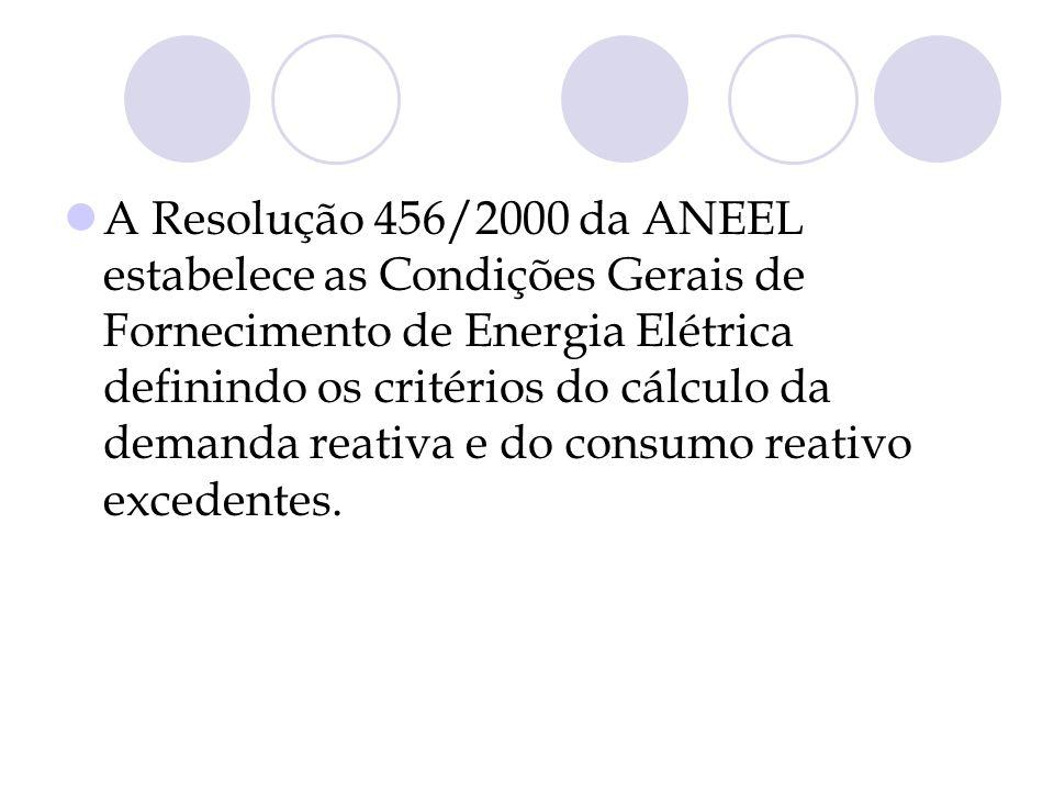 A Resolução 456/2000 da ANEEL estabelece as Condições Gerais de Fornecimento de Energia Elétrica definindo os critérios do cálculo da demanda reativa