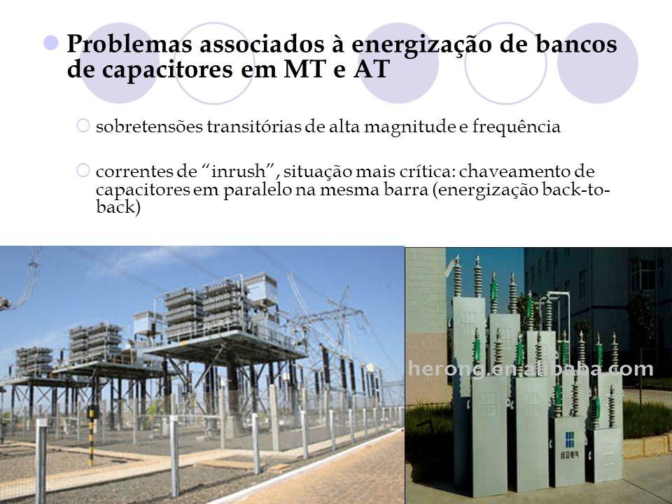 Problemas associados à energização de bancos de capacitores em MT e AT sobretensões transitórias de alta magnitude e frequência correntes de inrush, s