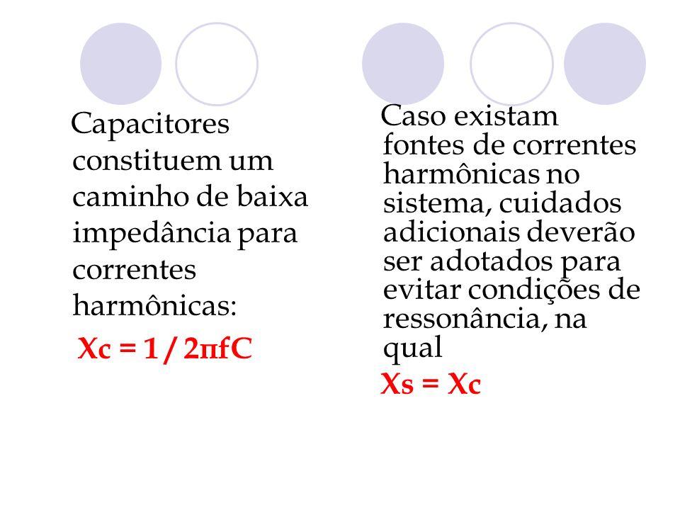 Capacitores constituem um caminho de baixa impedância para correntes harmônicas: Xc = 1 / 2πfC Caso existam fontes de correntes harmônicas no sistema,