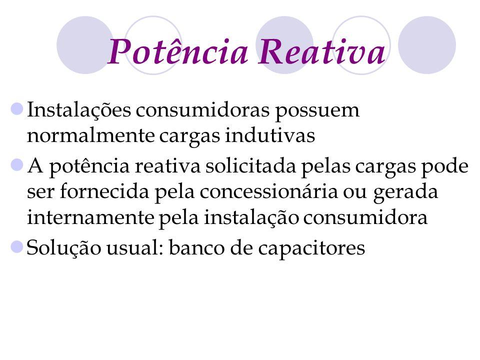Potência Reativa Instalações consumidoras possuem normalmente cargas indutivas A potência reativa solicitada pelas cargas pode ser fornecida pela conc