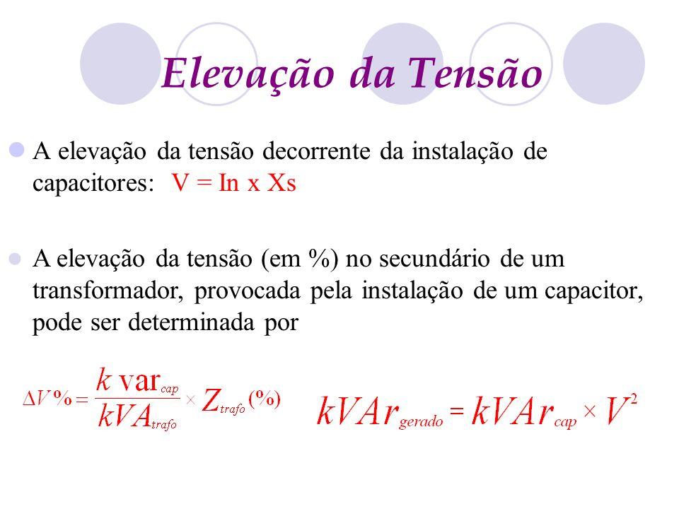 Elevação da Tensão A elevação da tensão decorrente da instalação de capacitores: V = In x Xs A elevação da tensão (em %) no secundário de um transform