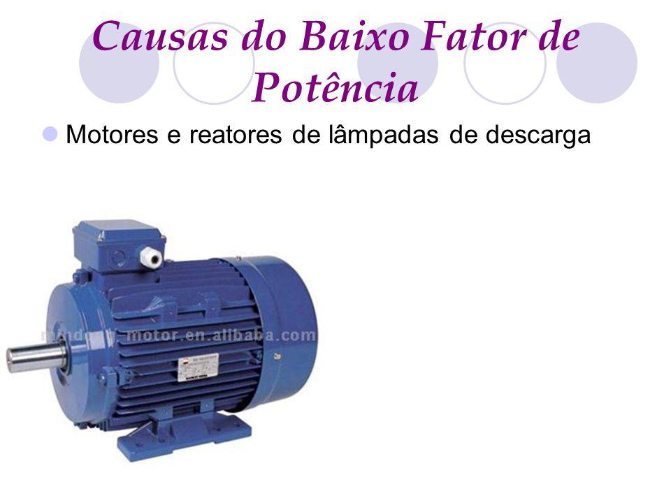 Causas do Baixo Fator de Potência Motores e reatores de lâmpadas de descarga