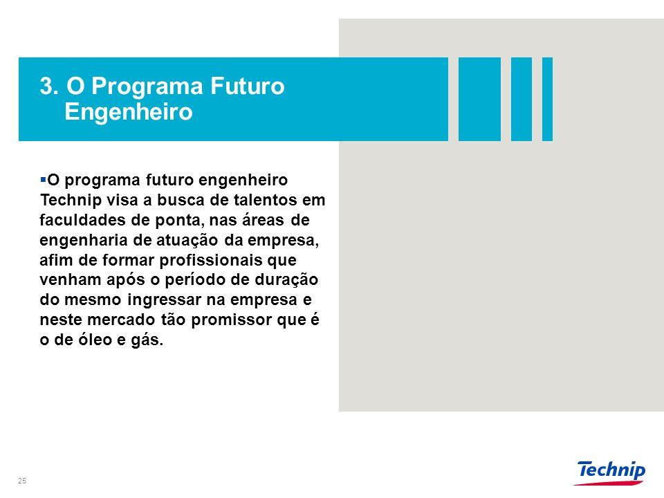 3. O Programa Futuro Engenheiro 25 O programa futuro engenheiro Technip visa a busca de talentos em faculdades de ponta, nas áreas de engenharia de at
