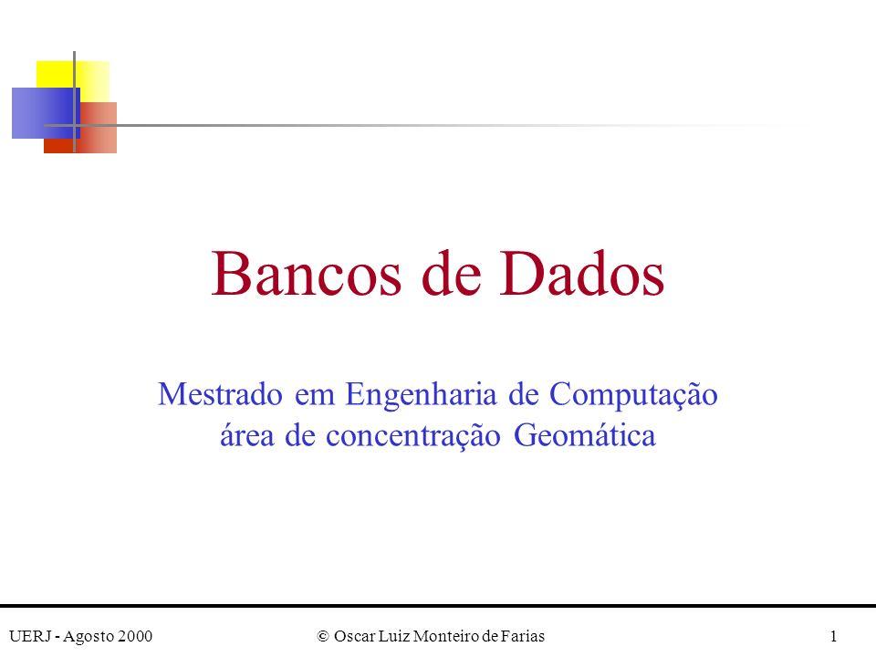UERJ - Agosto 2000© Oscar Luiz Monteiro de Farias12 CREATE TABLE DEPENDENT (ESSN CHAR(9) NOT NULL, DEPENDENT_NAMEVARCHAR(15) NOT NULL, SEX CHAR, BDATEDATE, RELATIONSHIPVARCHAR(8), PRIMARY KEY (ESSN, DEPENDENT _NAME), FOREIGN KEY (ESSN) REFERENCES EMPLOYEE (SSN)); -------------------------------------------------------------------------------------------------------------- Dedinição, em SQL2, do Schema Company Observação: i) O schema SQL nos quais as relações acima estão declaradas está implicitamente especificado no ambiente no qual os comandos CREATE TABLE são executados.