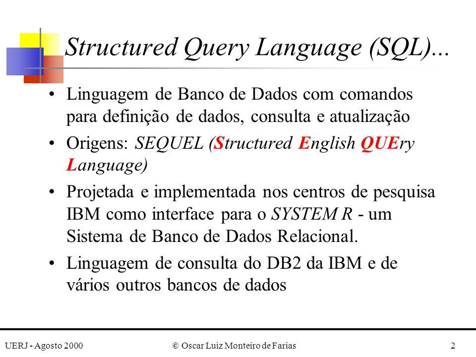 UERJ - Agosto 2000© Oscar Luiz Monteiro de Farias3 esforços da ANSI (American National Standards Institute) e ISO (International Standards Organization) para padronização: –SQL1 (SQL ANSI 1986) –SQL2 (SQL ANSI 1992) –SQL3 (....) Inserida em várias hosts-languages (C, Pascal, etc.) Structured Query Language (SQL)