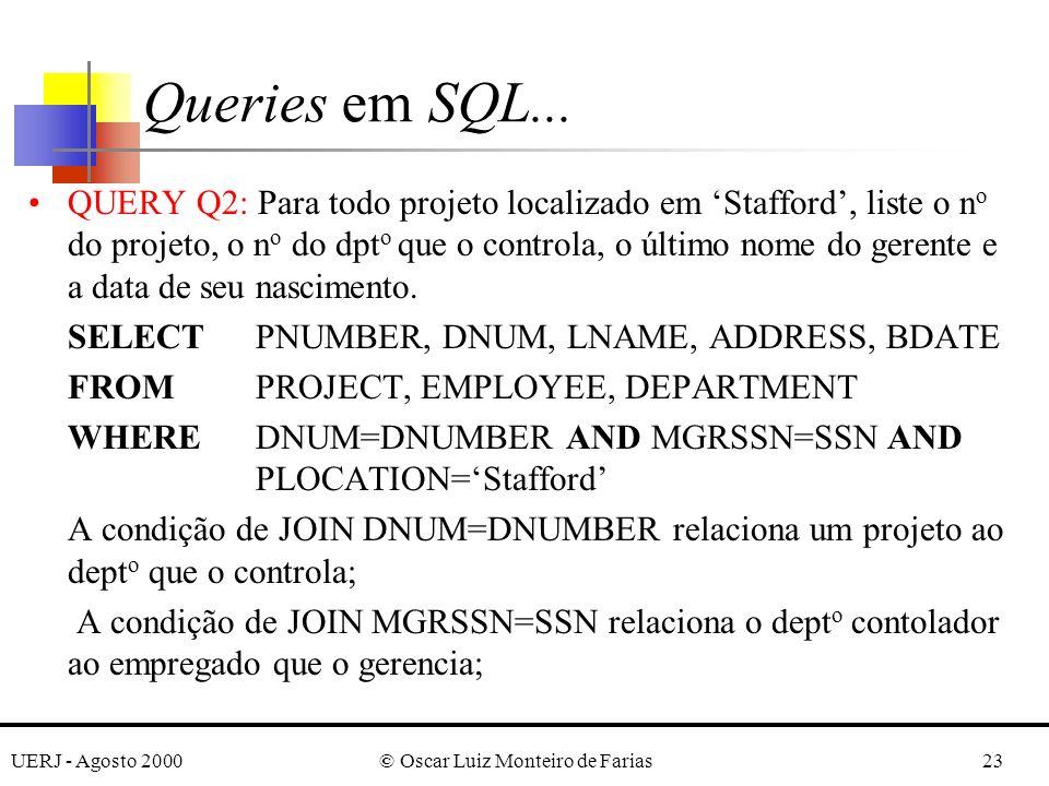 UERJ - Agosto 2000© Oscar Luiz Monteiro de Farias23 QUERY Q2: Para todo projeto localizado em Stafford, liste o n o do projeto, o n o do dpt o que o controla, o último nome do gerente e a data de seu nascimento.
