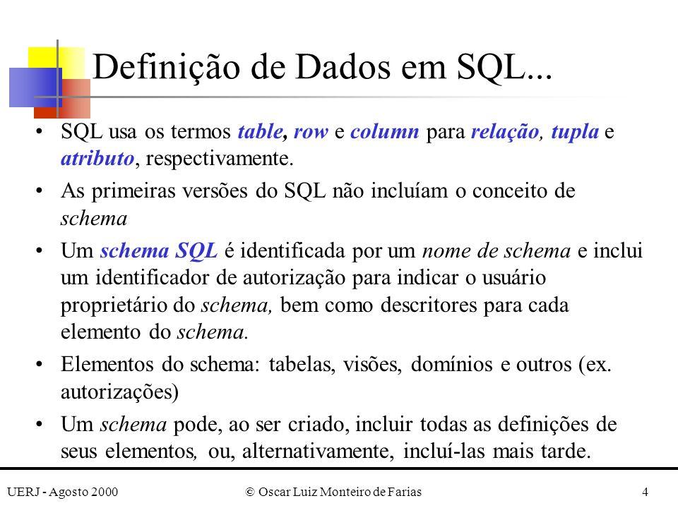 UERJ - Agosto 2000© Oscar Luiz Monteiro de Farias4 Definição de Dados em SQL...