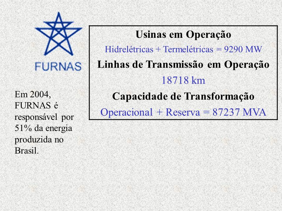 Em 2004, FURNAS é responsável por 51% da energia produzida no Brasil. Usinas em Operação Hidrelétricas + Termelétricas = 9290 MW Linhas de Transmissão