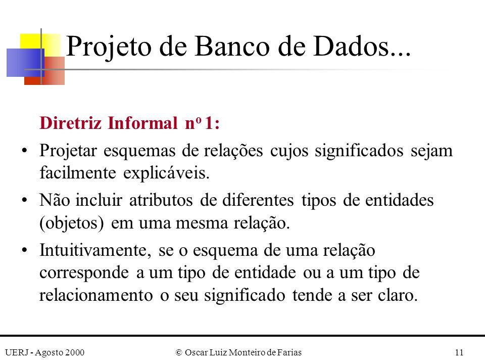 UERJ - Agosto 2000© Oscar Luiz Monteiro de Farias11 Diretriz Informal n o 1: Projetar esquemas de relações cujos significados sejam facilmente explicáveis.