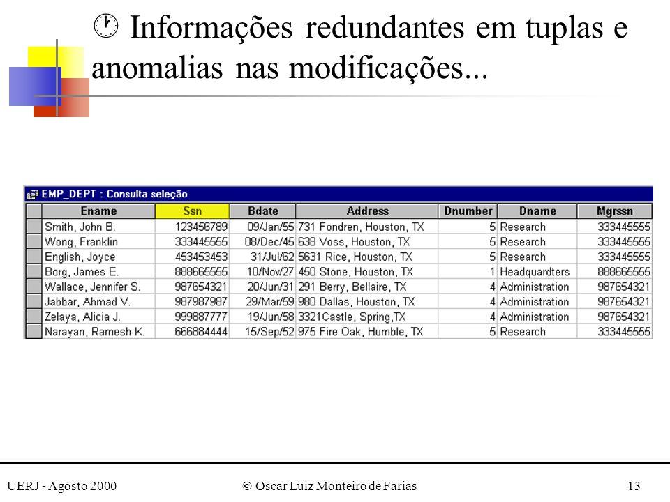UERJ - Agosto 2000© Oscar Luiz Monteiro de Farias13 · Informações redundantes em tuplas e anomalias nas modificações...