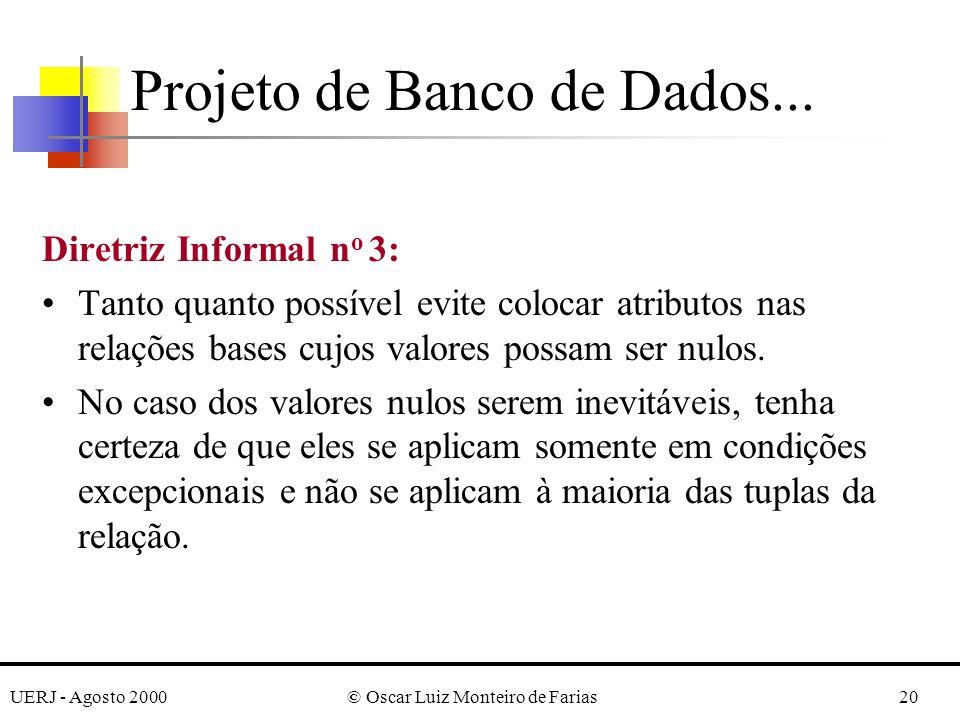 UERJ - Agosto 2000© Oscar Luiz Monteiro de Farias20 Diretriz Informal n o 3: Tanto quanto possível evite colocar atributos nas relações bases cujos valores possam ser nulos.