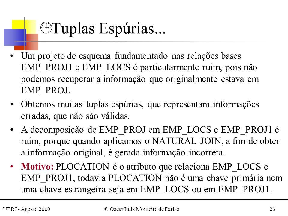 UERJ - Agosto 2000© Oscar Luiz Monteiro de Farias23 Um projeto de esquema fundamentado nas relações bases EMP_PROJ1 e EMP_LOCS é particularmente ruim, pois não podemos recuperar a informação que originalmente estava em EMP_PROJ.