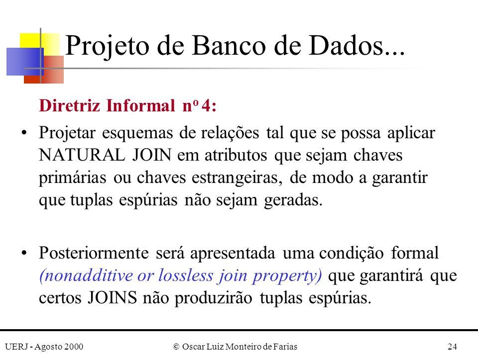 UERJ - Agosto 2000© Oscar Luiz Monteiro de Farias24 Diretriz Informal n o 4: Projetar esquemas de relações tal que se possa aplicar NATURAL JOIN em at