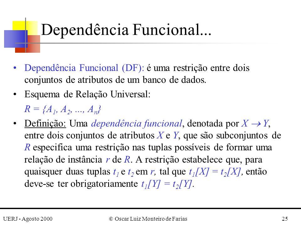 UERJ - Agosto 2000© Oscar Luiz Monteiro de Farias25 Dependência Funcional... Dependência Funcional (DF): é uma restrição entre dois conjuntos de atrib