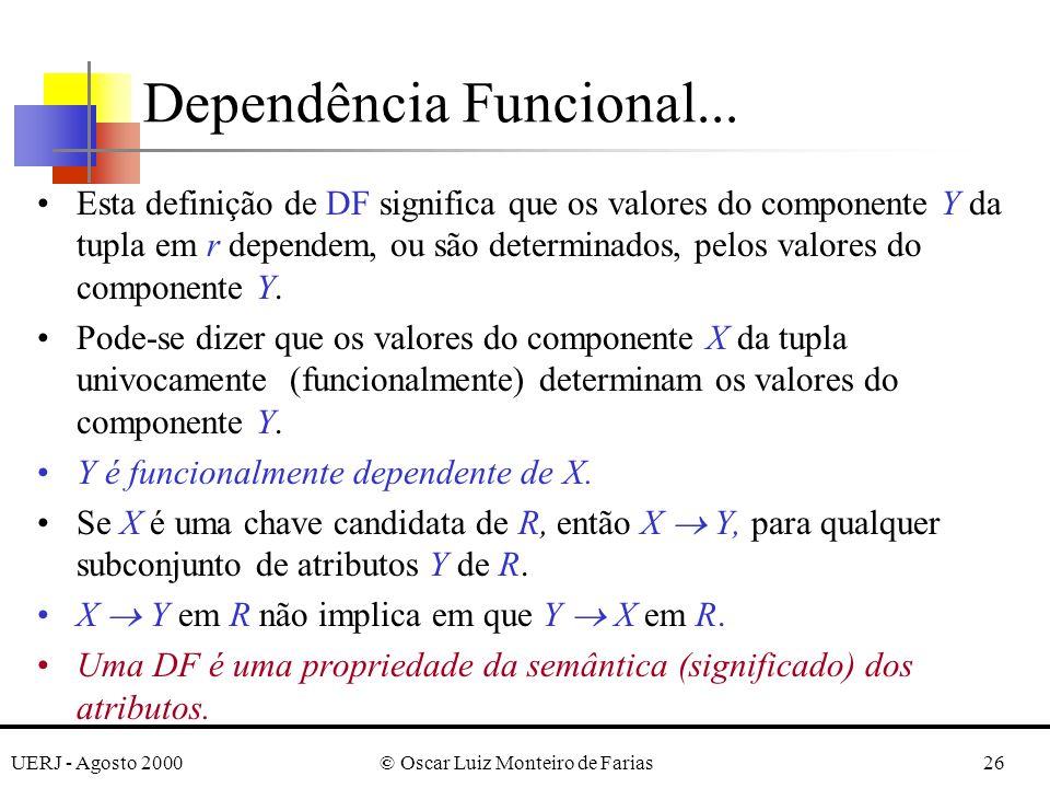 UERJ - Agosto 2000© Oscar Luiz Monteiro de Farias26 Esta definição de DF significa que os valores do componente Y da tupla em r dependem, ou são determinados, pelos valores do componente Y.