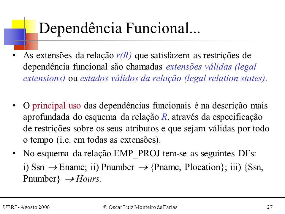 UERJ - Agosto 2000© Oscar Luiz Monteiro de Farias27 As extensões da relação r(R) que satisfazem as restrições de dependência funcional são chamadas extensões válidas (legal extensions) ou estados válidos da relação (legal relation states).