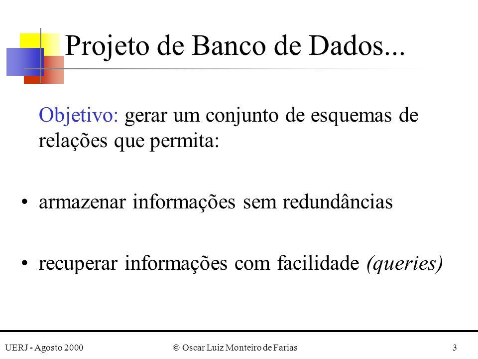 UERJ - Agosto 2000© Oscar Luiz Monteiro de Farias3 Projeto de Banco de Dados... Objetivo: gerar um conjunto de esquemas de relações que permita: armaz