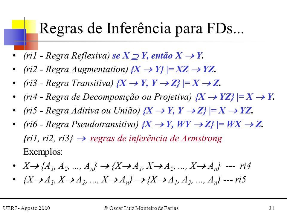UERJ - Agosto 2000© Oscar Luiz Monteiro de Farias31 (ri1 - Regra Reflexiva) se X Y, então X Y. (ri2 - Regra Augmentation) {X Y} |= XZ YZ. (ri3 - Regra