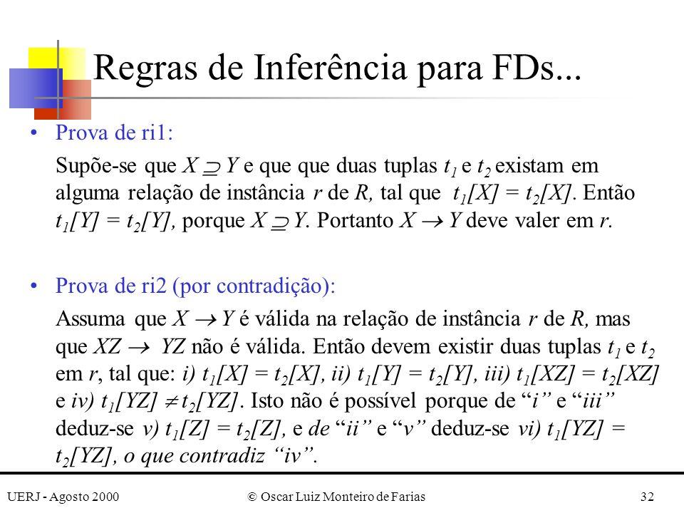 UERJ - Agosto 2000© Oscar Luiz Monteiro de Farias32 Prova de ri1: Supõe-se que X Y e que que duas tuplas t 1 e t 2 existam em alguma relação de instância r de R, tal que t 1 [X] = t 2 [X].
