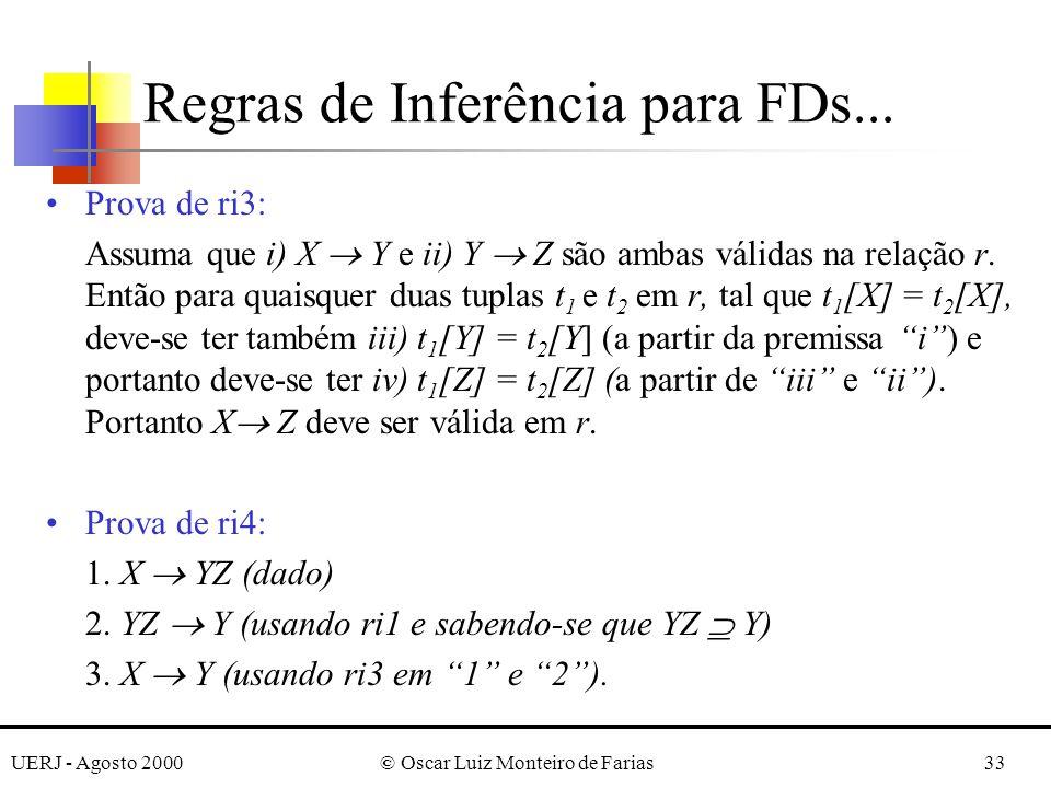 UERJ - Agosto 2000© Oscar Luiz Monteiro de Farias33 Prova de ri3: Assuma que i) X Y e ii) Y Z são ambas válidas na relação r. Então para quaisquer dua