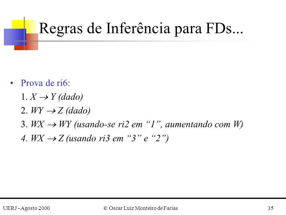 UERJ - Agosto 2000© Oscar Luiz Monteiro de Farias35 Prova de ri6: 1. X Y (dado) 2. WY Z (dado) 3. WX WY (usando-se ri2 em 1, aumentando com W) 4. WX Z
