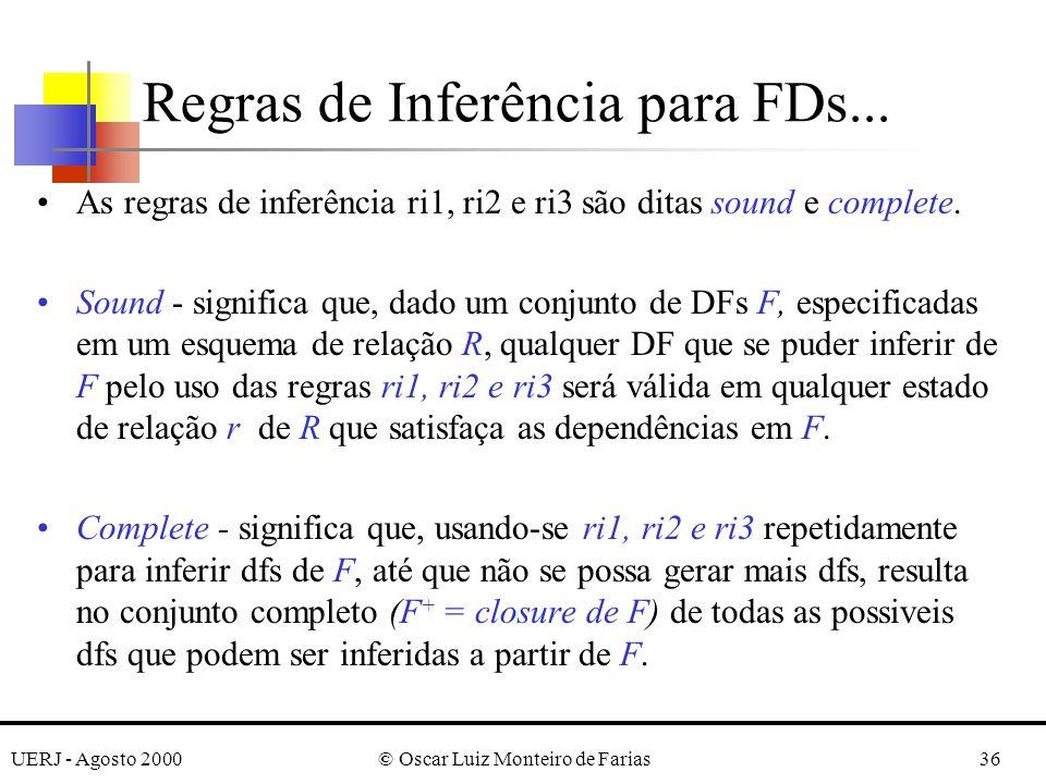 UERJ - Agosto 2000© Oscar Luiz Monteiro de Farias36 As regras de inferência ri1, ri2 e ri3 são ditas sound e complete. Sound - significa que, dado um