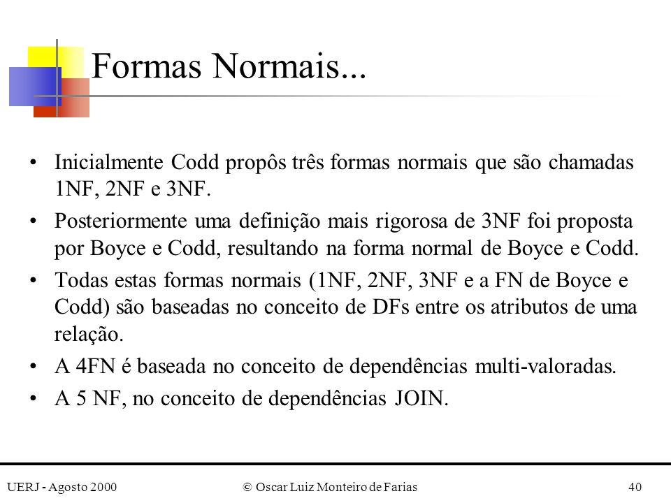 UERJ - Agosto 2000© Oscar Luiz Monteiro de Farias40 Formas Normais... Inicialmente Codd propôs três formas normais que são chamadas 1NF, 2NF e 3NF. Po