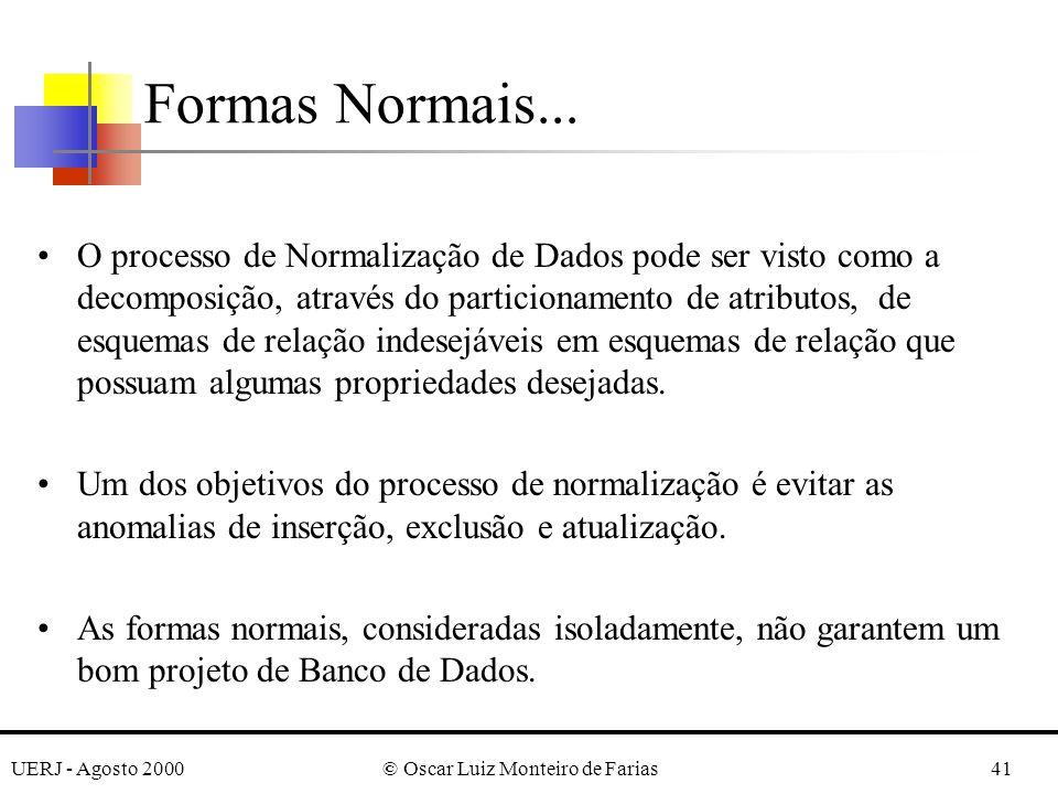 UERJ - Agosto 2000© Oscar Luiz Monteiro de Farias41 O processo de Normalização de Dados pode ser visto como a decomposição, através do particionamento de atributos, de esquemas de relação indesejáveis em esquemas de relação que possuam algumas propriedades desejadas.