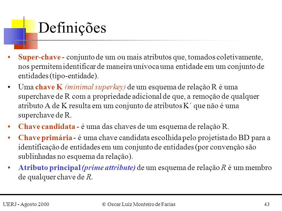UERJ - Agosto 2000© Oscar Luiz Monteiro de Farias43 Definições Super-chave - conjunto de um ou mais atributos que, tomados coletivamente, nos permitem identificar de maneira unívoca uma entidade em um conjunto de entidades (tipo-entidade).