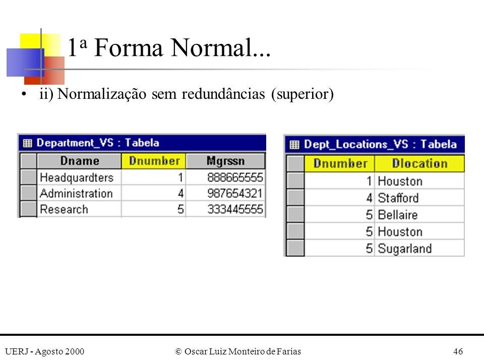 UERJ - Agosto 2000© Oscar Luiz Monteiro de Farias46 ii) Normalização sem redundâncias (superior) 1 a Forma Normal...