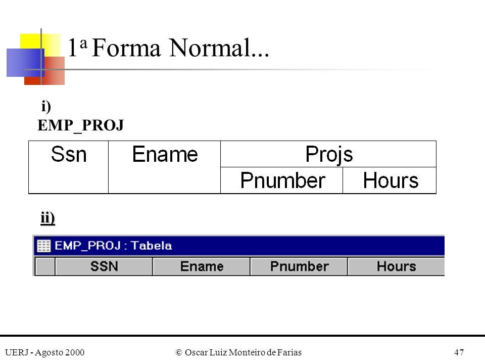 UERJ - Agosto 2000© Oscar Luiz Monteiro de Farias47 1 a Forma Normal... i) EMP_PROJ ii)