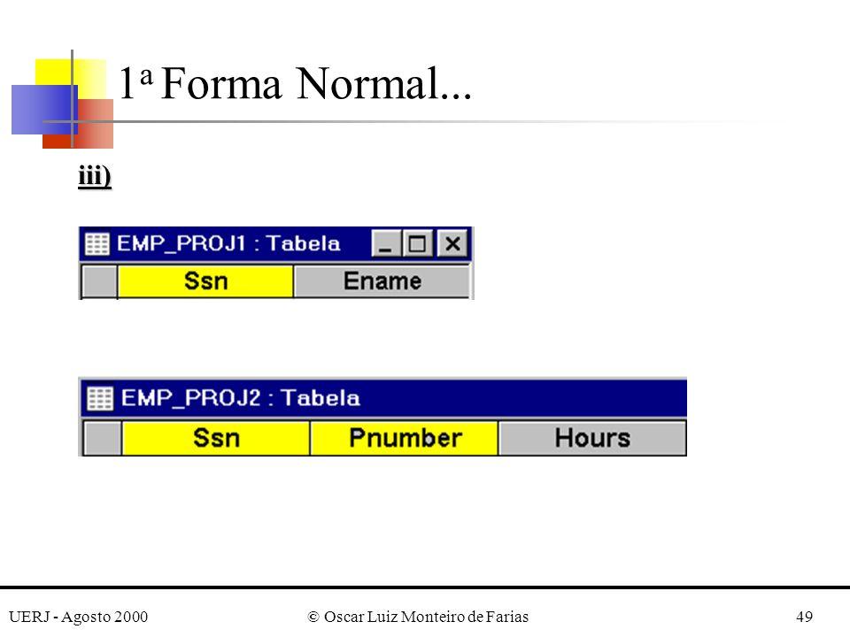 UERJ - Agosto 2000© Oscar Luiz Monteiro de Farias49 1 a Forma Normal... iii)