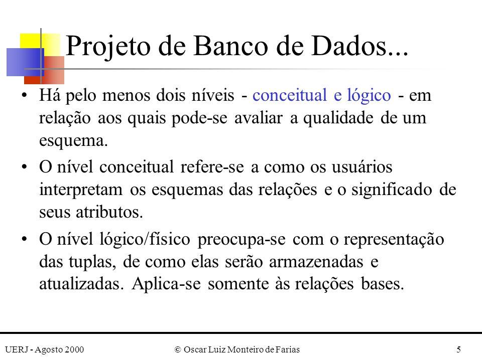 UERJ - Agosto 2000© Oscar Luiz Monteiro de Farias5 Há pelo menos dois níveis - conceitual e lógico - em relação aos quais pode-se avaliar a qualidade de um esquema.