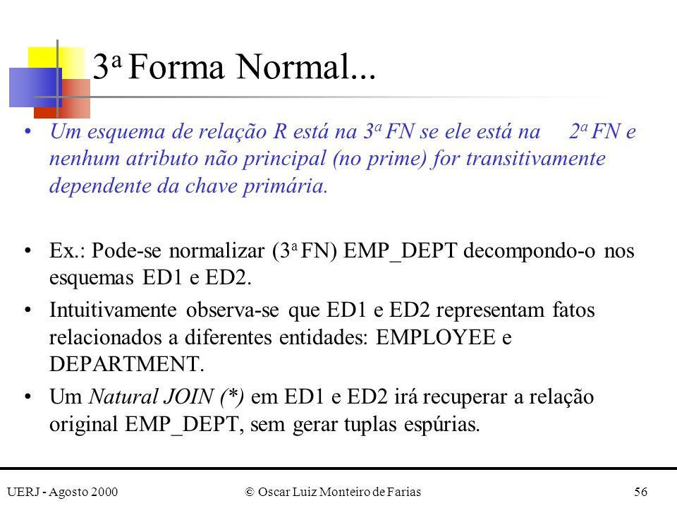 UERJ - Agosto 2000© Oscar Luiz Monteiro de Farias56 Um esquema de relação R está na 3 a FN se ele está na 2 a FN e nenhum atributo não principal (no prime) for transitivamente dependente da chave primária.