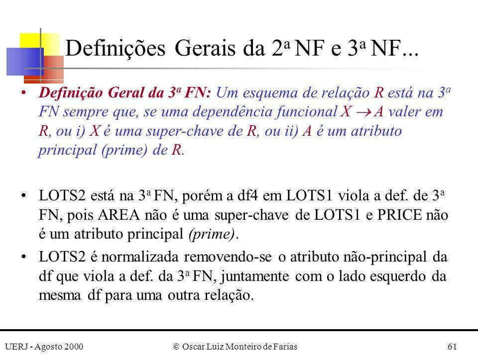 UERJ - Agosto 2000© Oscar Luiz Monteiro de Farias61 Definição Geral da 3 a FN: Um esquema de relação R está na 3 a FN sempre que, se uma dependência funcional X A valer em R, ou i) X é uma super-chave de R, ou ii) A é um atributo principal (prime) de R.