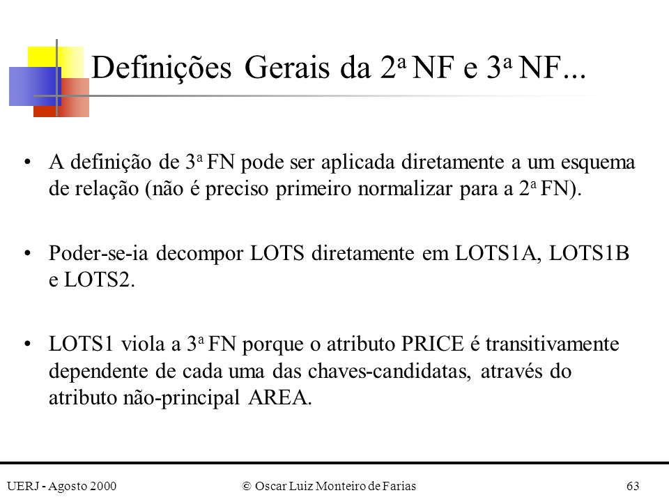 UERJ - Agosto 2000© Oscar Luiz Monteiro de Farias63 A definição de 3 a FN pode ser aplicada diretamente a um esquema de relação (não é preciso primeiro normalizar para a 2 a FN).