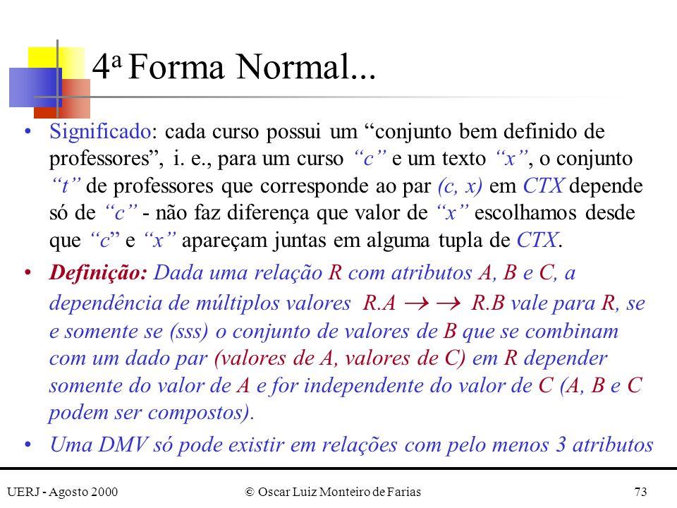 UERJ - Agosto 2000© Oscar Luiz Monteiro de Farias73 Significado: cada curso possui um conjunto bem definido de professores, i.