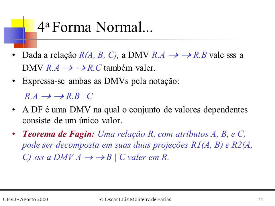 UERJ - Agosto 2000© Oscar Luiz Monteiro de Farias74 Dada a relação R(A, B, C), a DMV R.A R.B vale sss a DMV R.A R.C também valer.