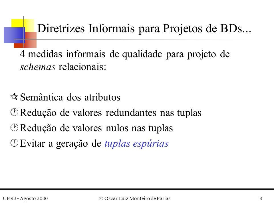 UERJ - Agosto 2000© Oscar Luiz Monteiro de Farias8 4 medidas informais de qualidade para projeto de schemas relacionais: ¶Semântica dos atributos ·Red