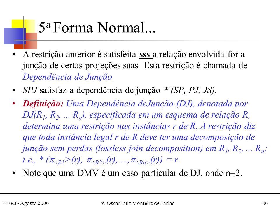 UERJ - Agosto 2000© Oscar Luiz Monteiro de Farias80 A restrição anterior é satisfeita sss a relação envolvida for a junção de certas projeções suas. E