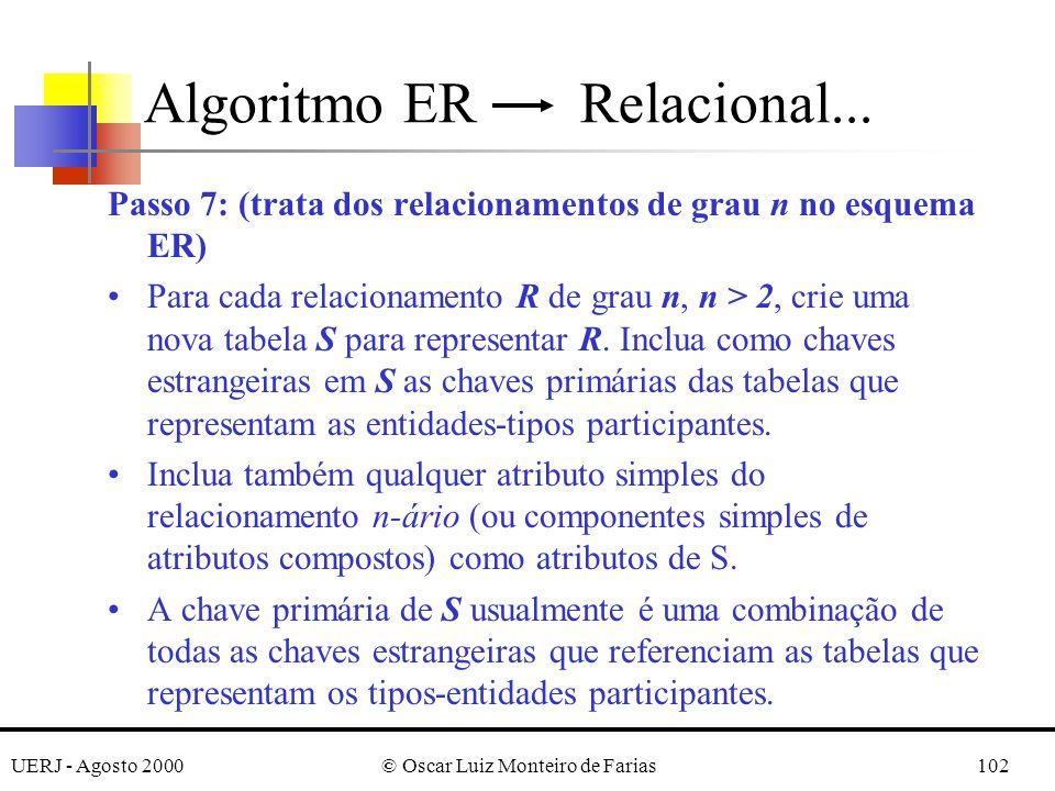UERJ - Agosto 2000© Oscar Luiz Monteiro de Farias102 Passo 7: (trata dos relacionamentos de grau n no esquema ER) Para cada relacionamento R de grau n