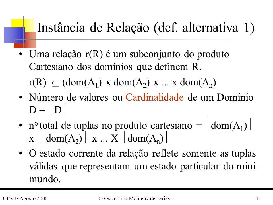UERJ - Agosto 2000© Oscar Luiz Monteiro de Farias11 Uma relação r(R) é um subconjunto do produto Cartesiano dos domínios que definem R. r(R) (dom(A 1