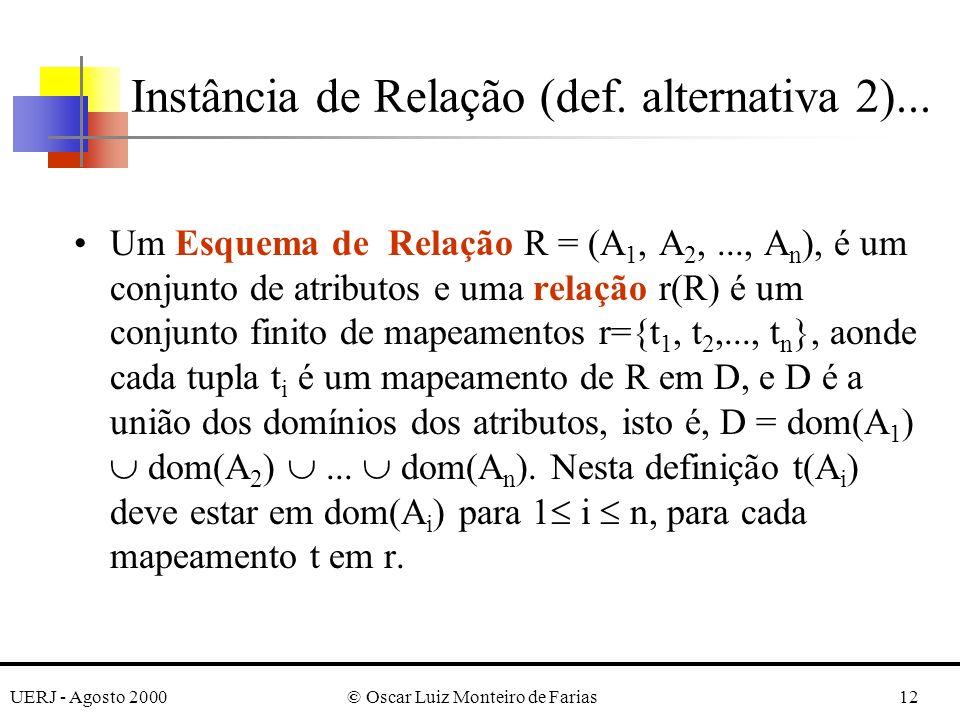 UERJ - Agosto 2000© Oscar Luiz Monteiro de Farias12 Um Esquema de Relação R = (A 1, A 2,..., A n ), é um conjunto de atributos e uma relação r(R) é um