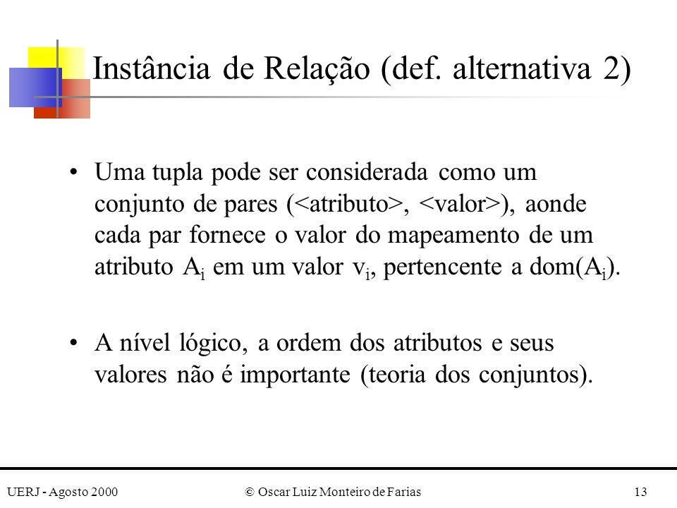 UERJ - Agosto 2000© Oscar Luiz Monteiro de Farias13 Uma tupla pode ser considerada como um conjunto de pares (, ), aonde cada par fornece o valor do m