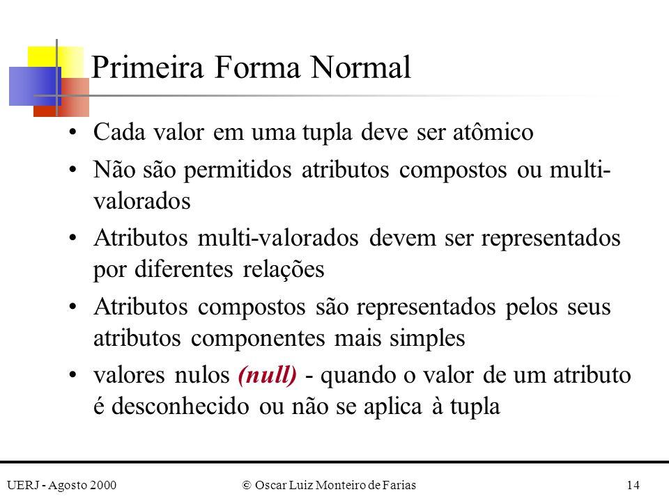 UERJ - Agosto 2000© Oscar Luiz Monteiro de Farias14 Cada valor em uma tupla deve ser atômico Não são permitidos atributos compostos ou multi- valorado