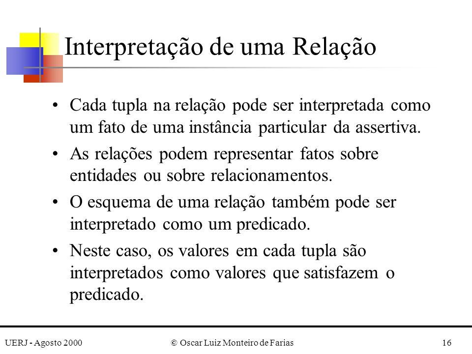 UERJ - Agosto 2000© Oscar Luiz Monteiro de Farias16 Cada tupla na relação pode ser interpretada como um fato de uma instância particular da assertiva.